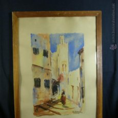 Arte: ACUARELA GOUACHE LARACHE VISTA DE CALLE M. ROMERO FIRMADA MITAD S XX 75X52,5CMS. Lote 50409944