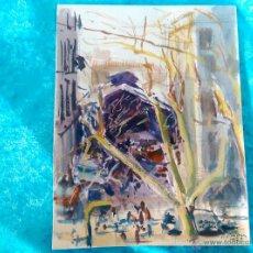 Arte: ACUARELA ORIGINAL CONTEMPORANEA DE SIMO BUSOM I GRAU, FIRMADA Y DEDICADA 1979. Lote 50540709