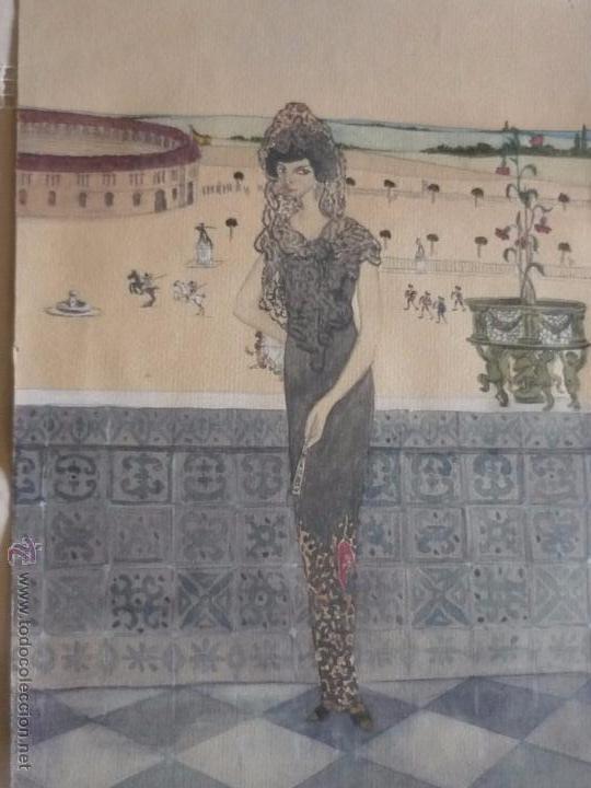 MUJER CON MANTILLA, AL FONDO PLAZA DE TOROS, FIRMADO RB (Arte - Acuarelas - Contemporáneas siglo XX)