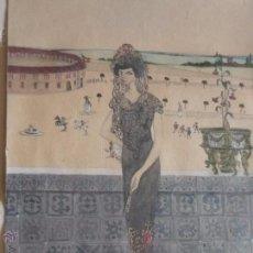 Arte: MUJER CON MANTILLA, AL FONDO PLAZA DE TOROS, FIRMADO RB. Lote 50555648