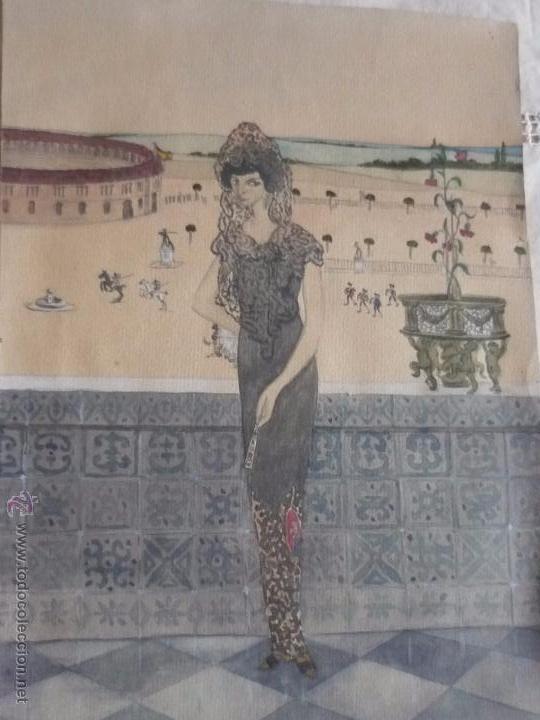Arte: Mujer con mantilla, al fondo Plaza de toros, firmado RB - Foto 2 - 50555648
