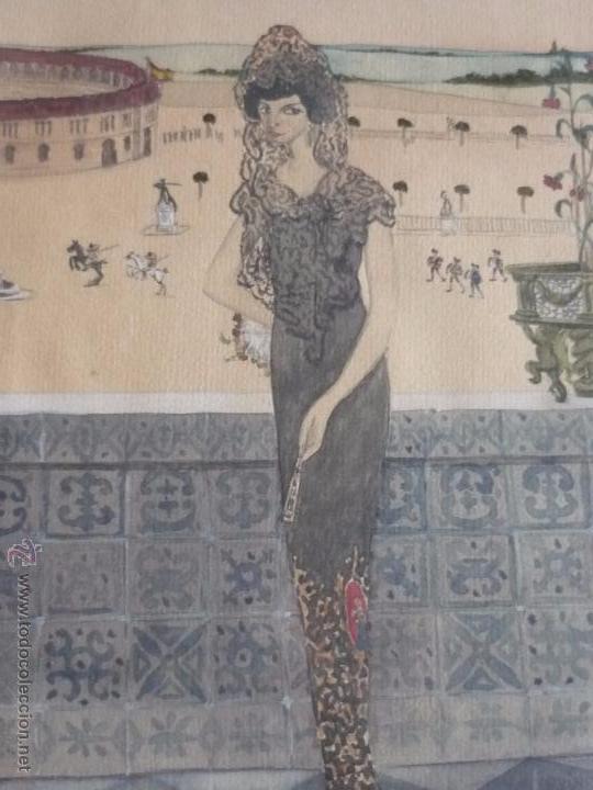 Arte: Mujer con mantilla, al fondo Plaza de toros, firmado RB - Foto 3 - 50555648