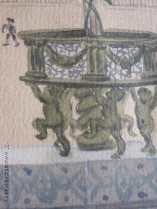 Arte: Mujer con mantilla, al fondo Plaza de toros, firmado RB - Foto 4 - 50555648