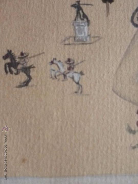 Arte: Mujer con mantilla, al fondo Plaza de toros, firmado RB - Foto 5 - 50555648