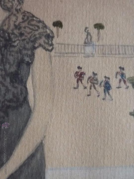Arte: Mujer con mantilla, al fondo Plaza de toros, firmado RB - Foto 6 - 50555648
