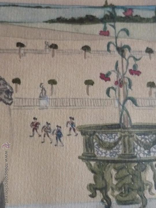 Arte: Mujer con mantilla, al fondo Plaza de toros, firmado RB - Foto 7 - 50555648