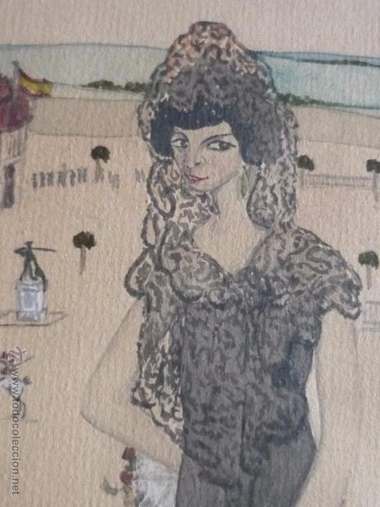 Arte: Mujer con mantilla, al fondo Plaza de toros, firmado RB - Foto 9 - 50555648
