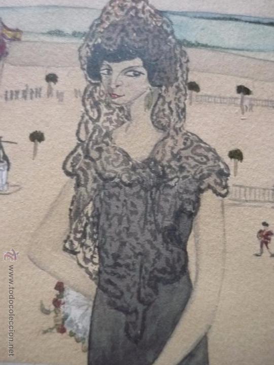 Arte: Mujer con mantilla, al fondo Plaza de toros, firmado RB - Foto 14 - 50555648