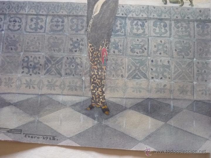 Arte: Mujer con mantilla, al fondo Plaza de toros, firmado RB - Foto 15 - 50555648