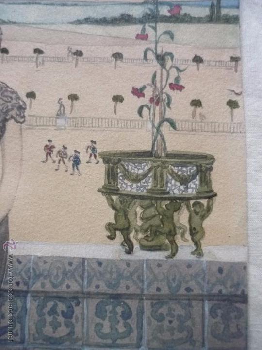 Arte: Mujer con mantilla, al fondo Plaza de toros, firmado RB - Foto 16 - 50555648