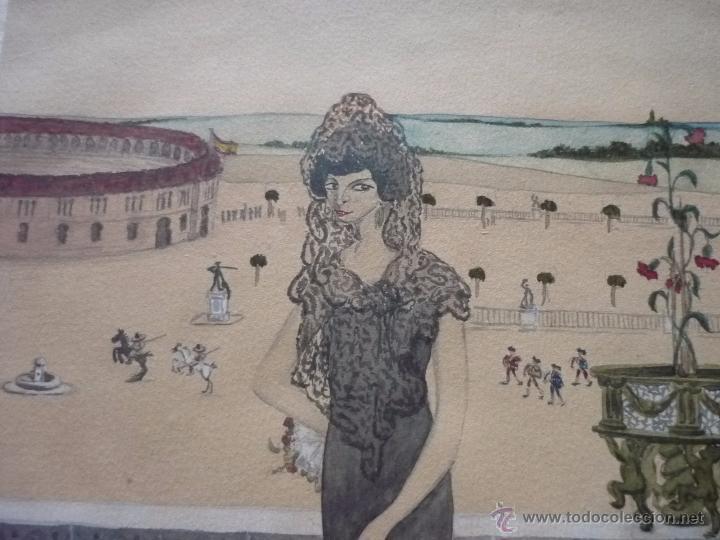 Arte: Mujer con mantilla, al fondo Plaza de toros, firmado RB - Foto 17 - 50555648