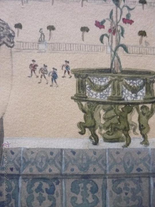 Arte: Mujer con mantilla, al fondo Plaza de toros, firmado RB - Foto 18 - 50555648