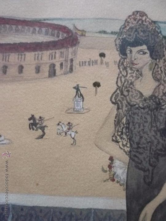 Arte: Mujer con mantilla, al fondo Plaza de toros, firmado RB - Foto 19 - 50555648