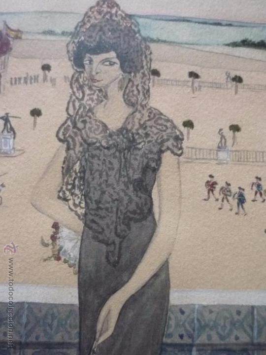 Arte: Mujer con mantilla, al fondo Plaza de toros, firmado RB - Foto 20 - 50555648