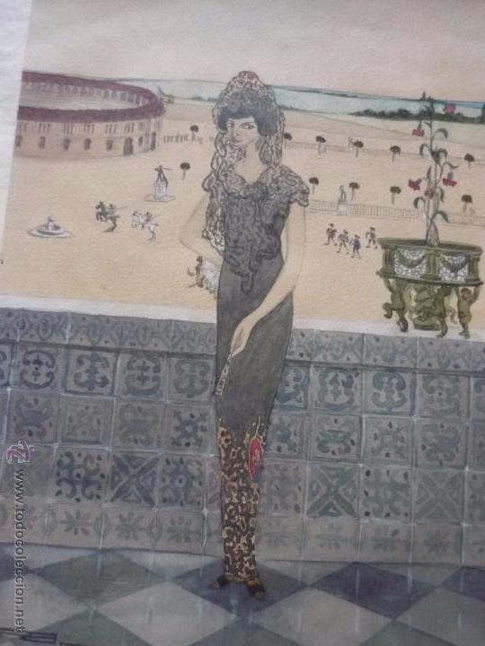 Arte: Mujer con mantilla, al fondo Plaza de toros, firmado RB - Foto 21 - 50555648