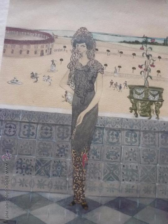 Arte: Mujer con mantilla, al fondo Plaza de toros, firmado RB - Foto 22 - 50555648