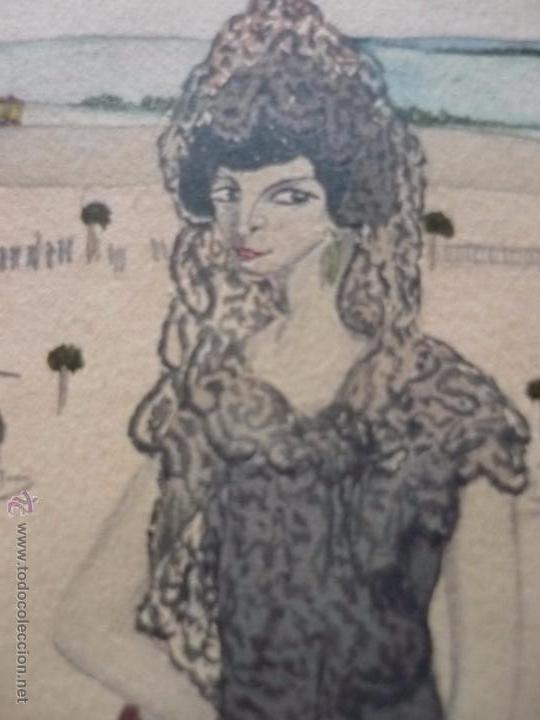 Arte: Mujer con mantilla, al fondo Plaza de toros, firmado RB - Foto 27 - 50555648
