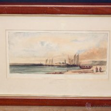 Arte: ESCUELA INGLESA FECHADO DEL AÑO 1864. ACUARELA SOBRE PAPEL. VISTA DE UN PUERTO. Lote 50740130