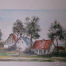 Arte: DIBUJO ACUARELA FIRMADA AÑOS 80. Lote 50777434