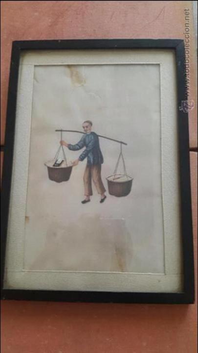 FANTÁSTICA ACUARELA CHINA REALIZADA SOBRE PAPEL DE ARROZ S. XIX (Arte - Acuarelas - Modernas siglo XIX)