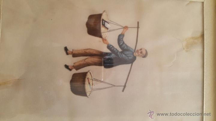Arte: Fantástica acuarela china realizada sobre papel de arroz S. XIX - Foto 2 - 50872840