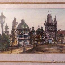 Arte: PRECIOSA ACUARELA Y PLUMILLA, PAISAJE DE CIUDAD - FIRMADA POR OPRIBIU,90 - 24X16,5 CM. Lote 51050168
