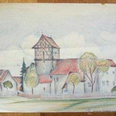 Arte: MARAVILLOSO PAISAJE ORIGINAL DE UN PUEBLO, AÑOS 20, BONITA COMBINACIÓN DE COLORES.. Lote 51171169