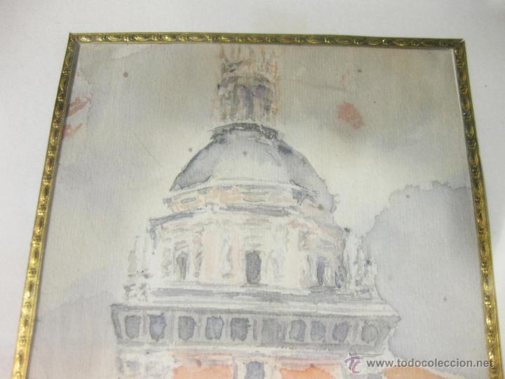 Arte: ACUARELA ANTIGUA ENMARCADA DE LA IGLESIA DE SAN ANDRÉS DE MADRID. - Foto 2 - 51395782