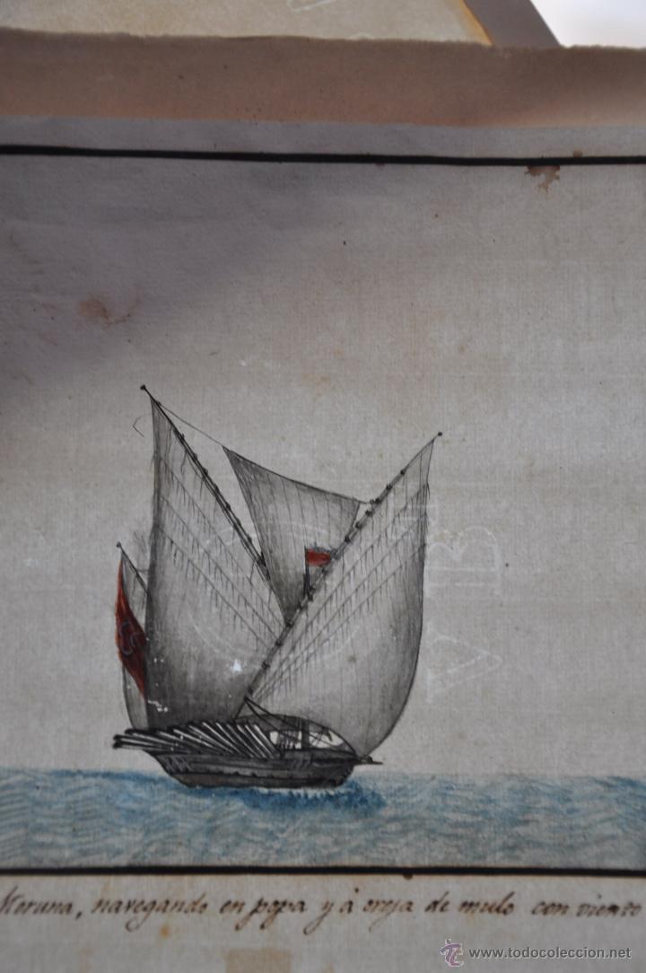 Arte: ACUARELA NAVAL DEL XVIII , VISTA DE UNA GALEOTA MORUNA CON TEXTO DESCRIPTIVO DE LA IMAGEN - Foto 2 - 51585321