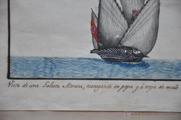 Arte: ACUARELA NAVAL DEL XVIII , VISTA DE UNA GALEOTA MORUNA CON TEXTO DESCRIPTIVO DE LA IMAGEN - Foto 3 - 51585321