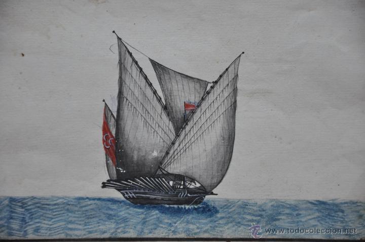 Arte: ACUARELA NAVAL DEL XVIII , VISTA DE UNA GALEOTA MORUNA CON TEXTO DESCRIPTIVO DE LA IMAGEN - Foto 4 - 51585321