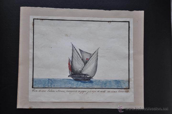 Arte: ACUARELA NAVAL DEL XVIII , VISTA DE UNA GALEOTA MORUNA CON TEXTO DESCRIPTIVO DE LA IMAGEN - Foto 5 - 51585321
