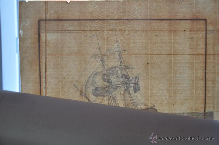 Arte: ACUARELA NAVAL DEL XVIII , VISTA DE UN BERGANTIN INGLES CON TEXTO DESCRIPTIVO DE LA IMAGEN - Foto 2 - 51585424
