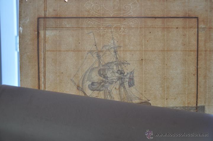 Arte: ACUARELA NAVAL DEL XVIII , VISTA DE UN BERGANTIN INGLES CON TEXTO DESCRIPTIVO DE LA IMAGEN - Foto 3 - 51585424