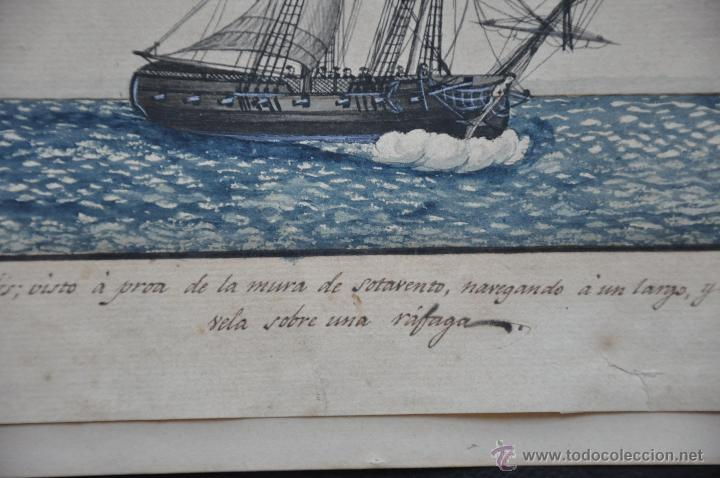 Arte: ACUARELA NAVAL DEL XVIII , VISTA DE UN BERGANTIN INGLES CON TEXTO DESCRIPTIVO DE LA IMAGEN - Foto 4 - 51585424