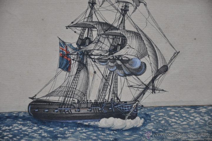Arte: ACUARELA NAVAL DEL XVIII , VISTA DE UN BERGANTIN INGLES CON TEXTO DESCRIPTIVO DE LA IMAGEN - Foto 5 - 51585424