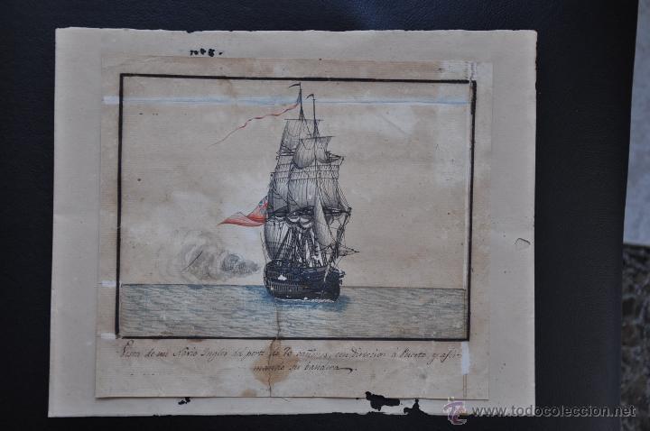 Arte: ACUARELA NAVAL DEL XVIII , VISTA DE UN NAVÍO INGLES CON TEXTO DESCRIPTIVO DE LA IMAGEN - Foto 2 - 51585505