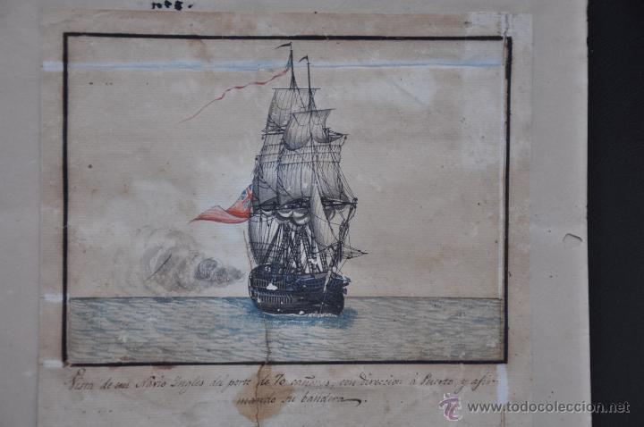 Arte: ACUARELA NAVAL DEL XVIII , VISTA DE UN NAVÍO INGLES CON TEXTO DESCRIPTIVO DE LA IMAGEN - Foto 3 - 51585505