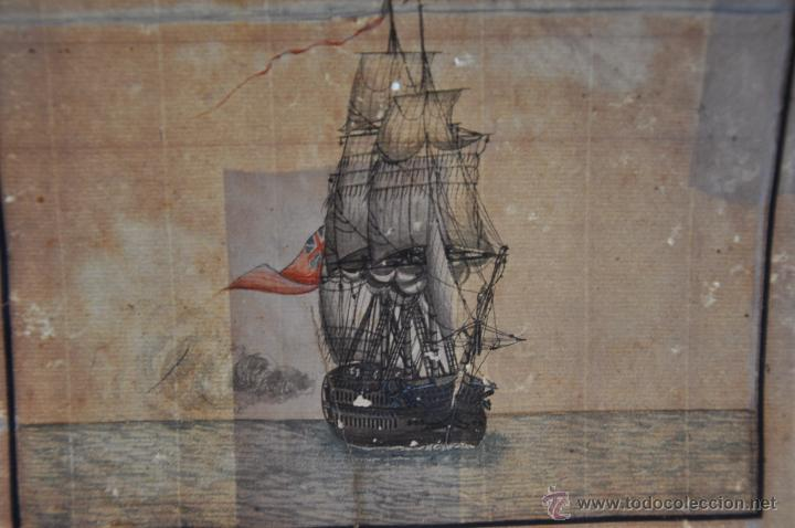Arte: ACUARELA NAVAL DEL XVIII , VISTA DE UN NAVÍO INGLES CON TEXTO DESCRIPTIVO DE LA IMAGEN - Foto 4 - 51585505