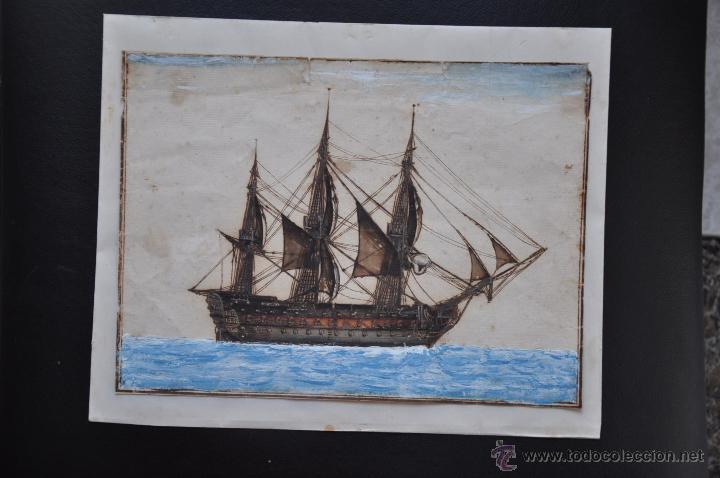 Arte: ACUARELA NAVAL DEL XVIII , VISTA DE UN NAVÍO , BARCO , BUQUE - Foto 2 - 51585629