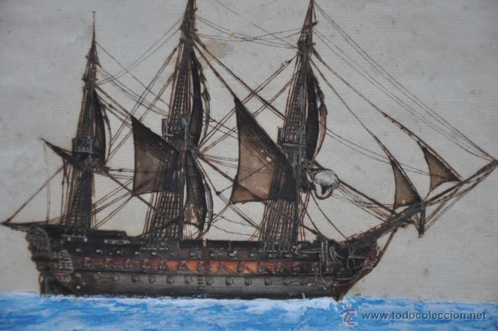 Arte: ACUARELA NAVAL DEL XVIII , VISTA DE UN NAVÍO , BARCO , BUQUE - Foto 3 - 51585629