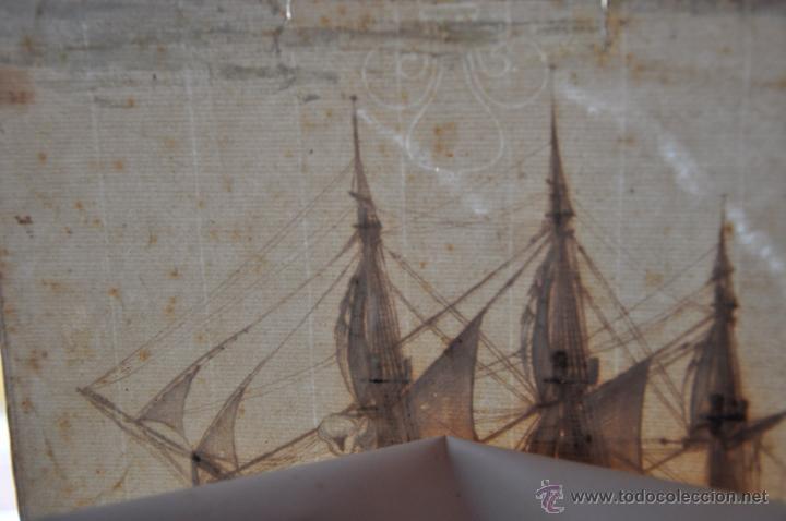 Arte: ACUARELA NAVAL DEL XVIII , VISTA DE UN NAVÍO , BARCO , BUQUE - Foto 4 - 51585629