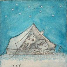 Arte: PRECIOSO BOCETO ORIGINAL EN ACUARELA PARA ALGÚN TEBEO DE LOS AÑOS 50-60 INGLÉS.WE SEE STARS AT NIGHT. Lote 51595101