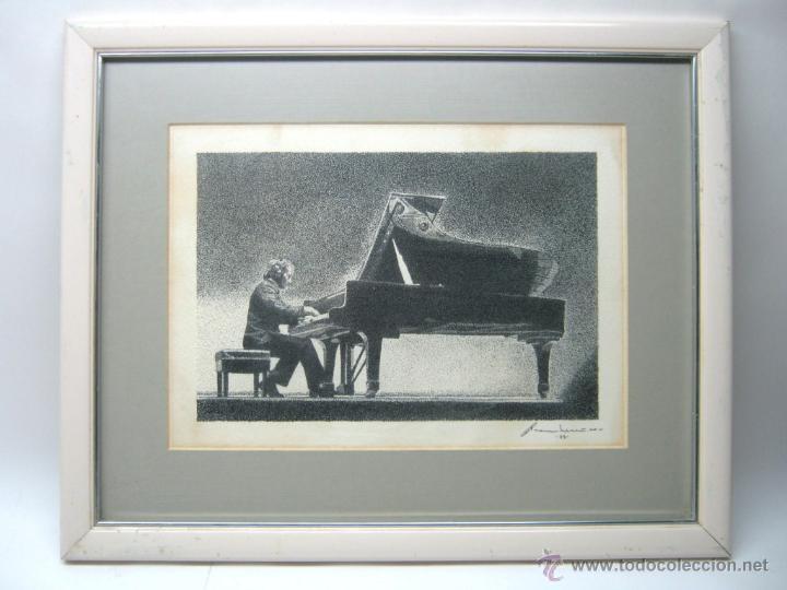 TECNICA MIXTA - FIRMADA ILEGIBLE - PIANISTA AL PIANO DE COLA (Arte - Acuarelas - Contemporáneas siglo XX)