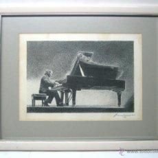 Arte: TECNICA MIXTA - FIRMADA ILEGIBLE - PIANISTA AL PIANO DE COLA. Lote 51718581