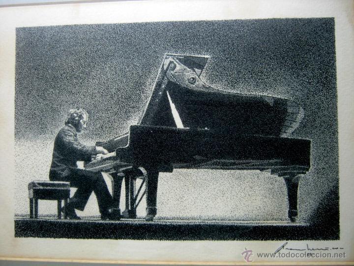 Arte: tecnica mixta - firmada ilegible - pianista al piano de cola - Foto 2 - 51718581