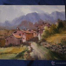Arte: FELIP BRUGUERAS PALLACH, ACUARELA , 25 X 20 , PUEBLO DE QUERFORADAT. Lote 55774233
