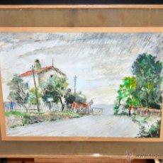 Arte: BERNAT SANJUAN TARRÉ (BARCELONA, 1915 – DEIÀ, 1979) GOUACHE SOBRE PAPEL DE LOS AÑOS 50. VISTA URBANA. Lote 51975982
