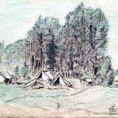 Arte: MARAVILLOSO PAISAJE ORIGINAL EN ACUARELA FIRMADO Y FECHADO 1871, ESTILO IMPRESIONISTA. Lote 218617132