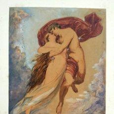 Arte: MAGISTRAL ACUARELA ORIGINAL DE HEINRICH BAND 1855-1919,AMANTES APUÑALADOS SE ELEVAN HASTA EL CIELO.. Lote 52341252